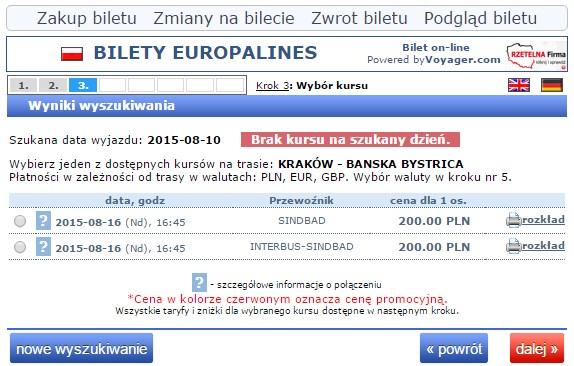 Bilety autokarowe Słowacja